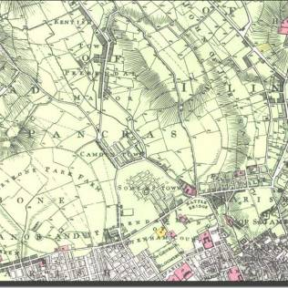 historic map of Islington